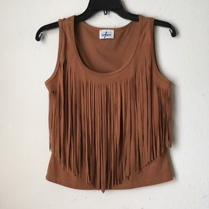 Suede Fringed Top